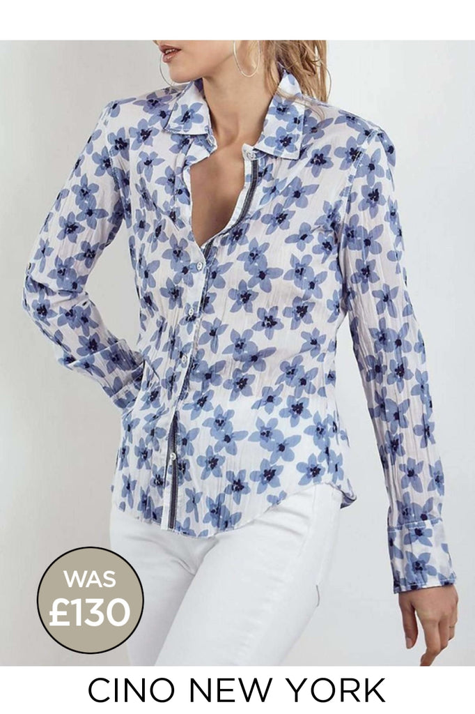 Crinkle Cotton Floral Fitted Shirt