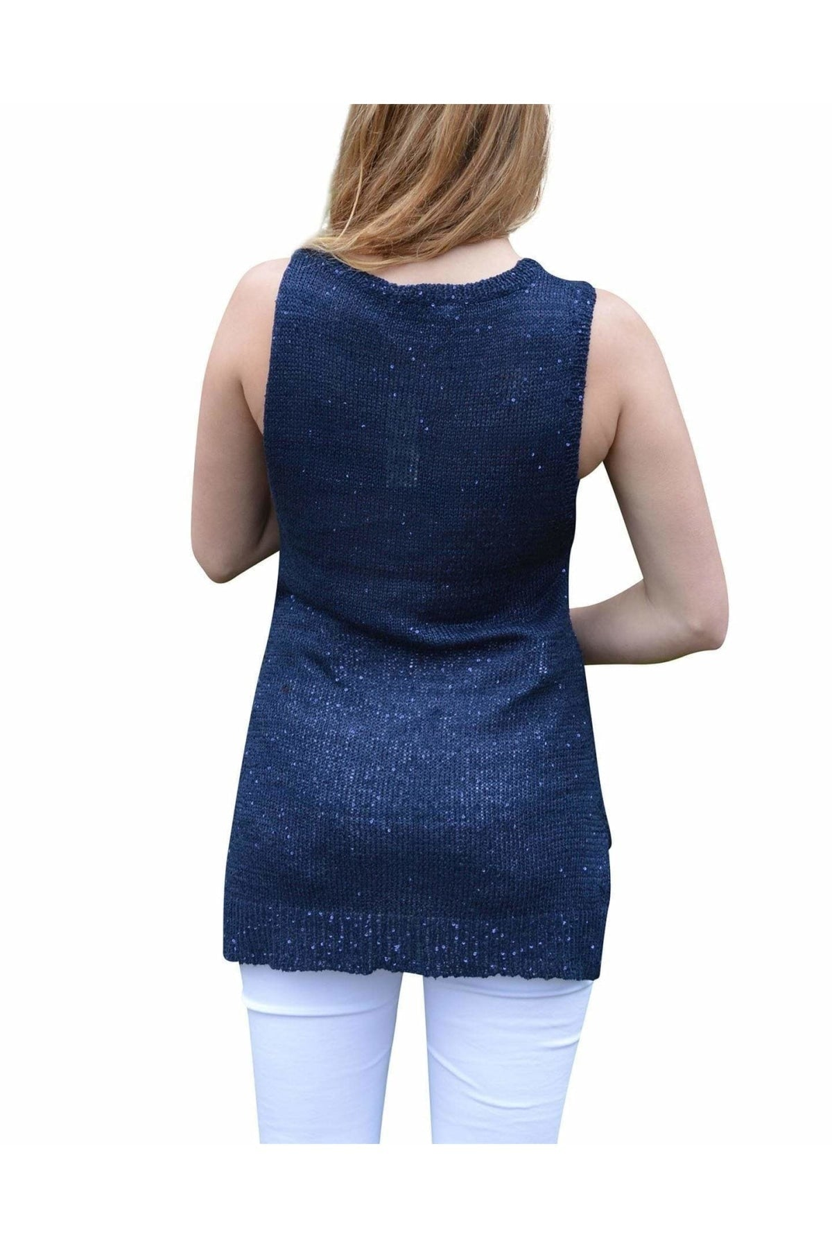 Innocence Innocence Sparkle Sequin Knit Sleeveless Long Top | 8 / Navy Secret Label