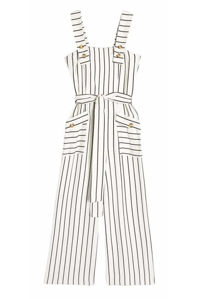 Topshop Ivory Stripe Pinafore Jumpsuit