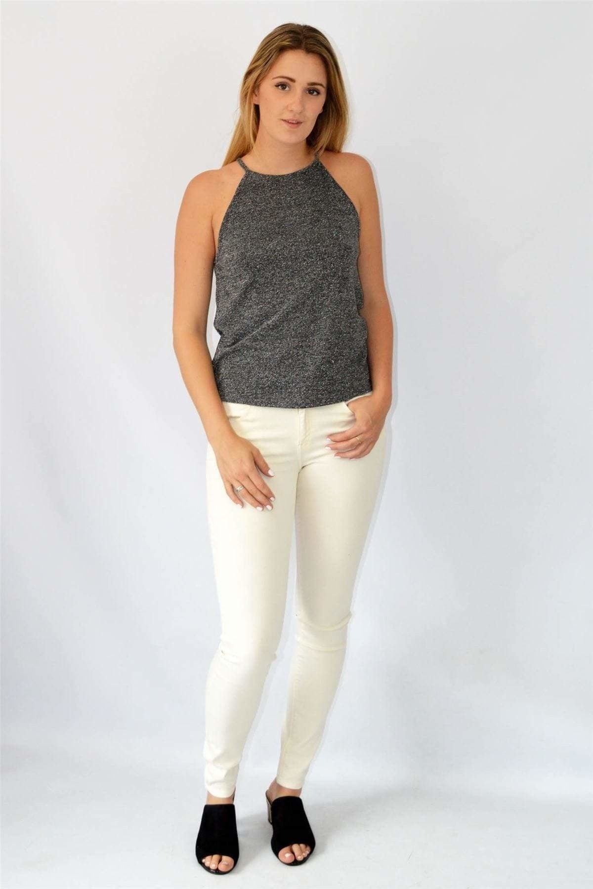 Urban Outfitters Urban Outfitters Charcoal/Silver Shimmer Sparkle Top | Secret Label