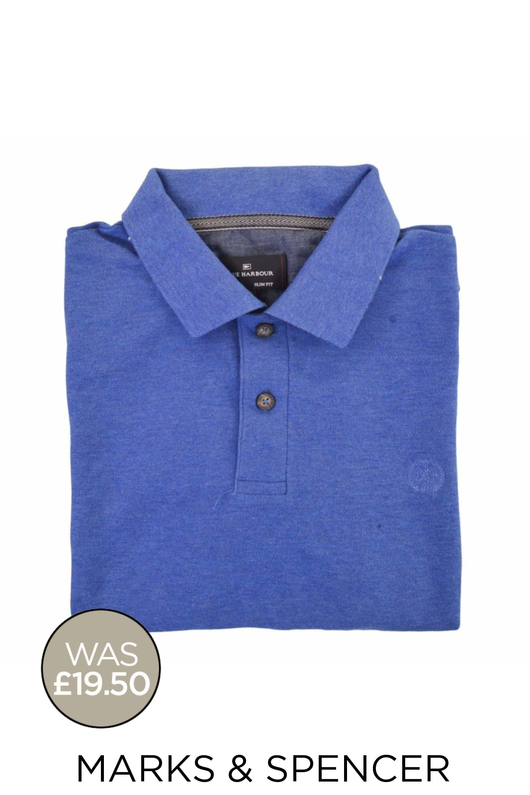 Marks & Spencer Ex M&S Cotton Pique Polo Shirt | M / Cobalt Blue Secret Label