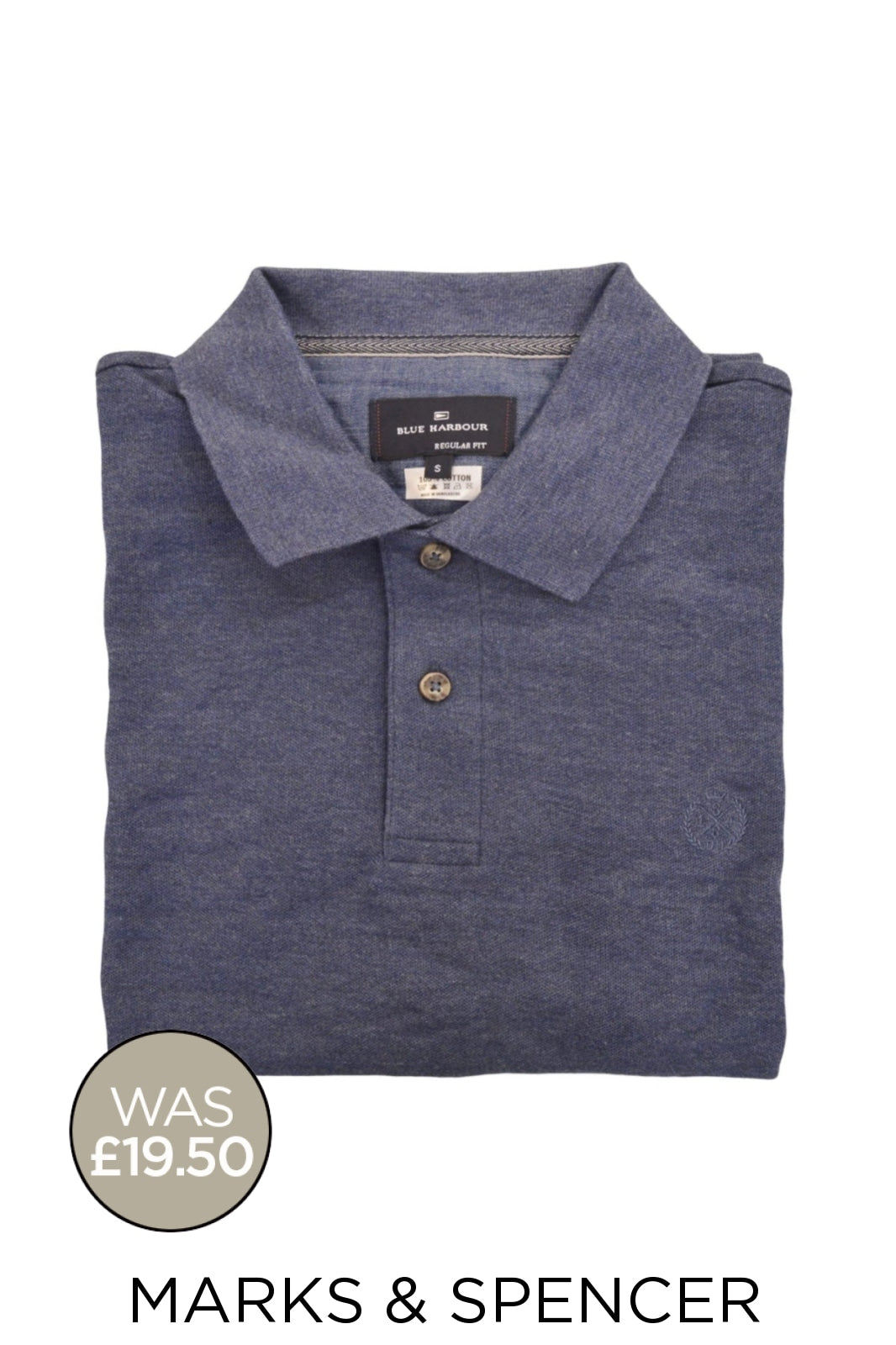 Marks & Spencer Ex M&S Cotton Pique Polo Shirt | S / Denim Secret Label
