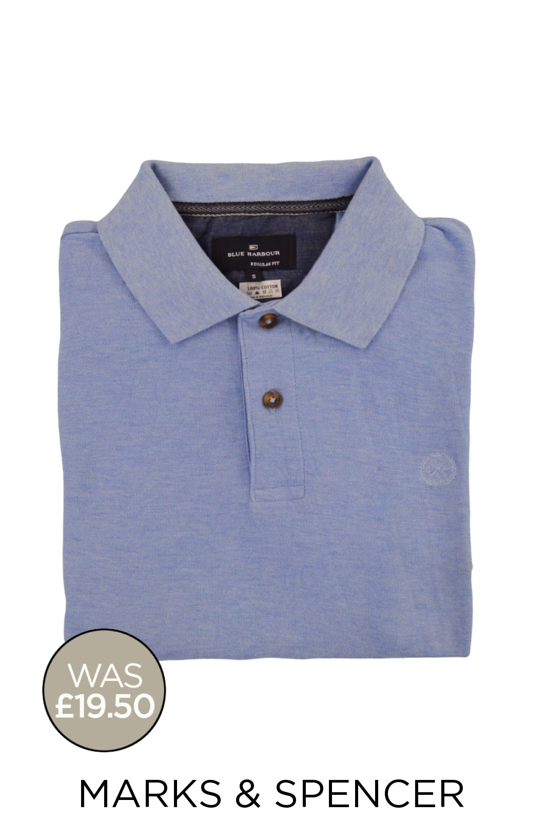 Marks & Spencer Ex M&S Cotton Pique Polo Shirt | S / Blue Marl Secret Label