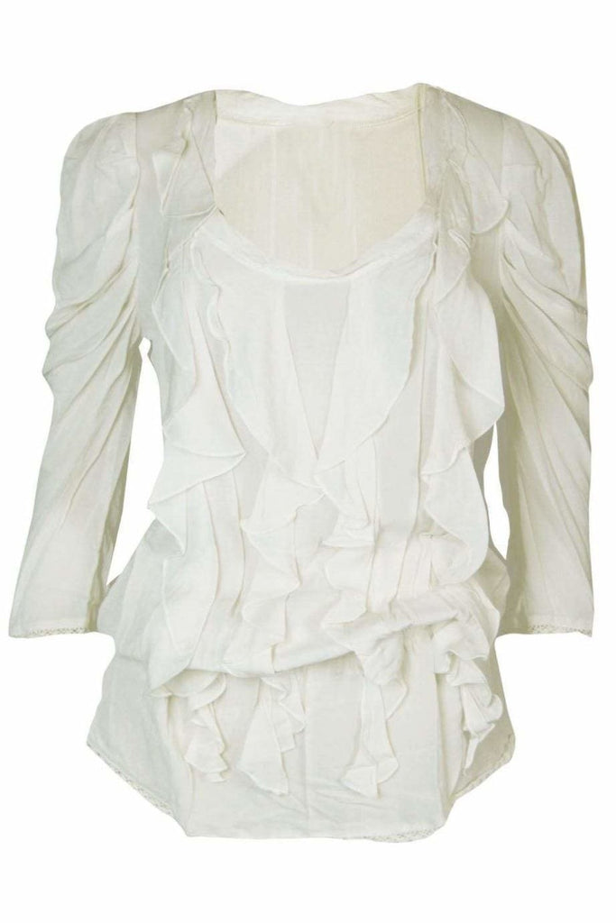 Next Cream Silky Ruffle Blouse