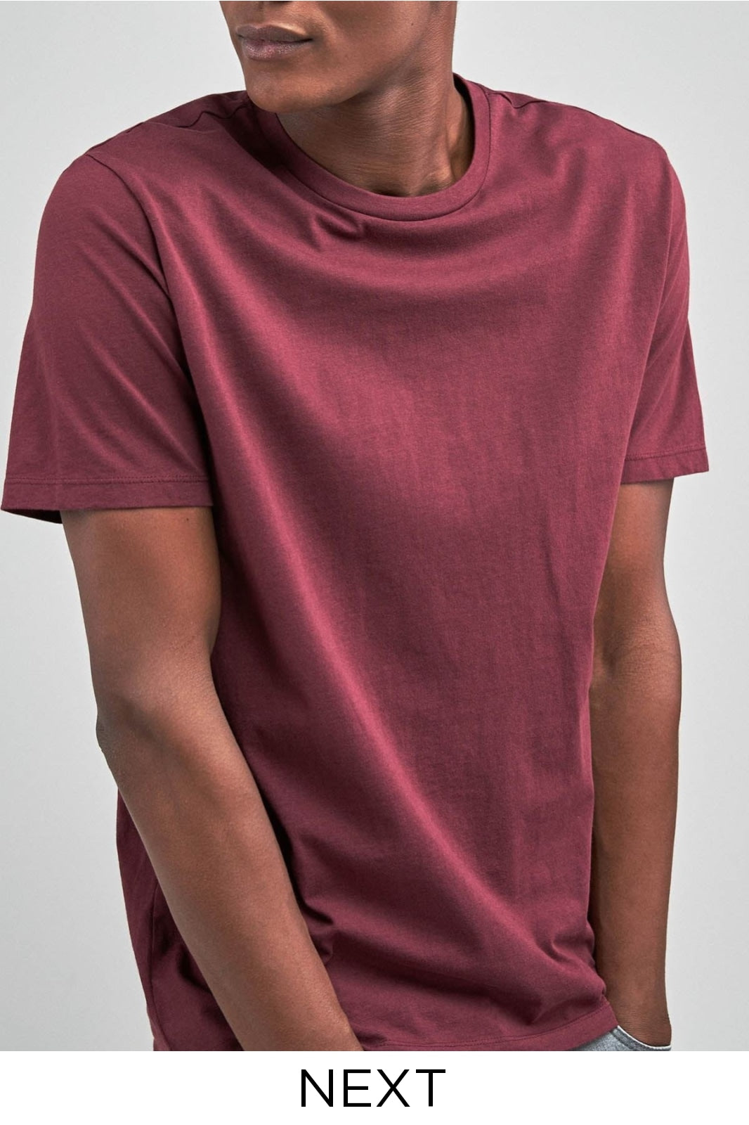 Next Ex Next Crew Neck Slim Fit T-Shirt | XL / Burgundy Secret Label