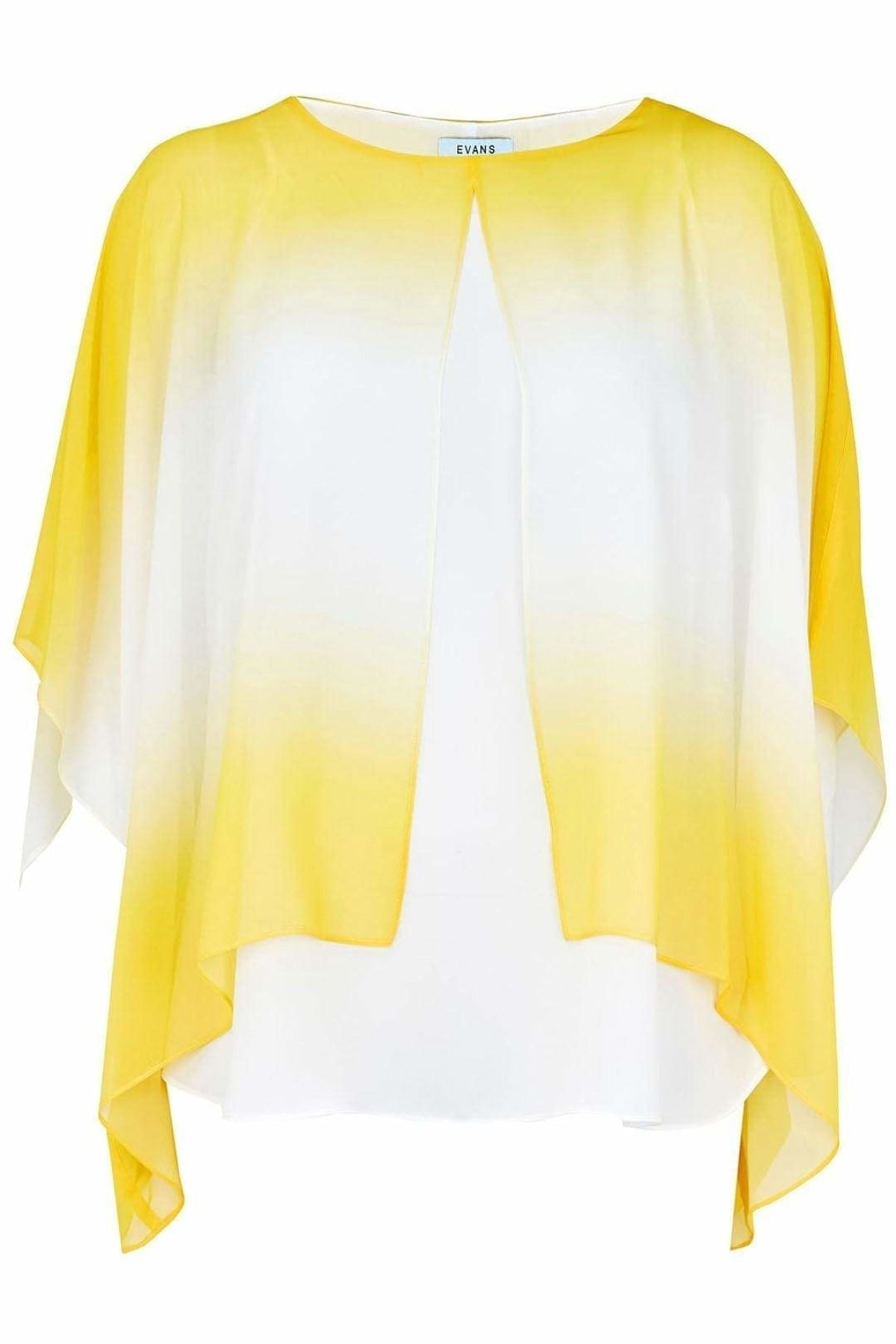 Evans Ex Evans Lemon Chiffon Overlay Ombre Blouse | Secret Label