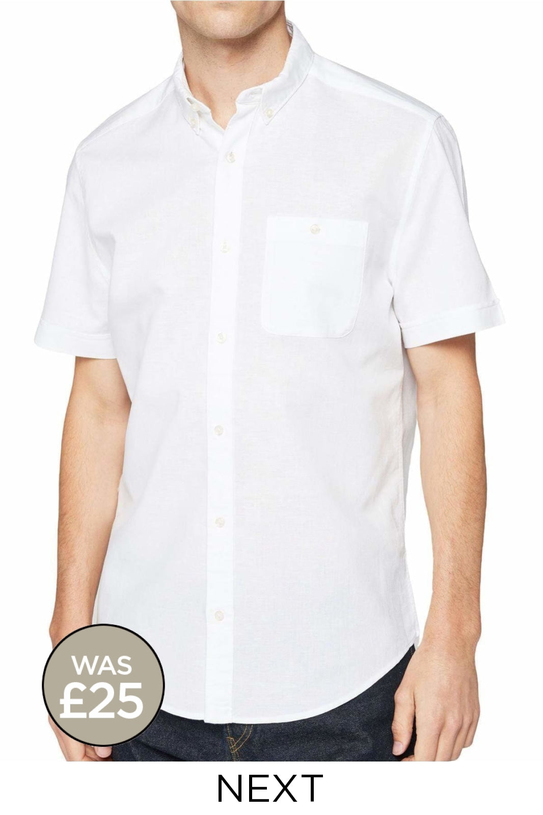 Next Mens Short Sleeve Linen Shirt | 3XL / White Secret Label