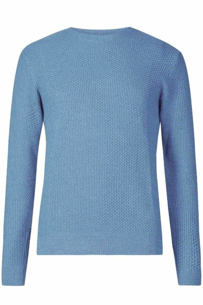 Mens Textured Cotton Crew Neck Jumper