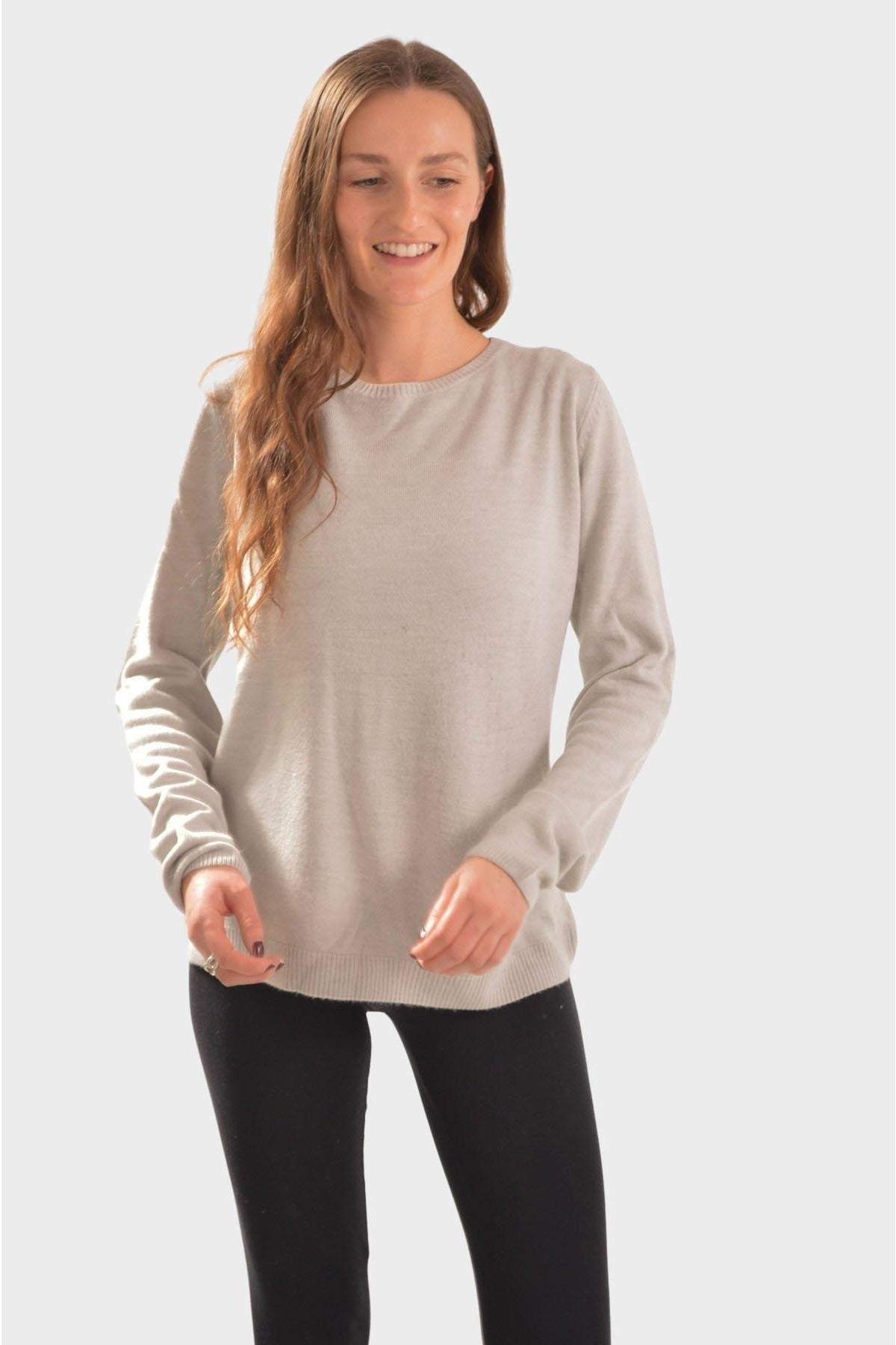 Marks & Spencer Ex M&S Cashmilon Round Neck Jumper | 20 / Pale Grey Secret Label