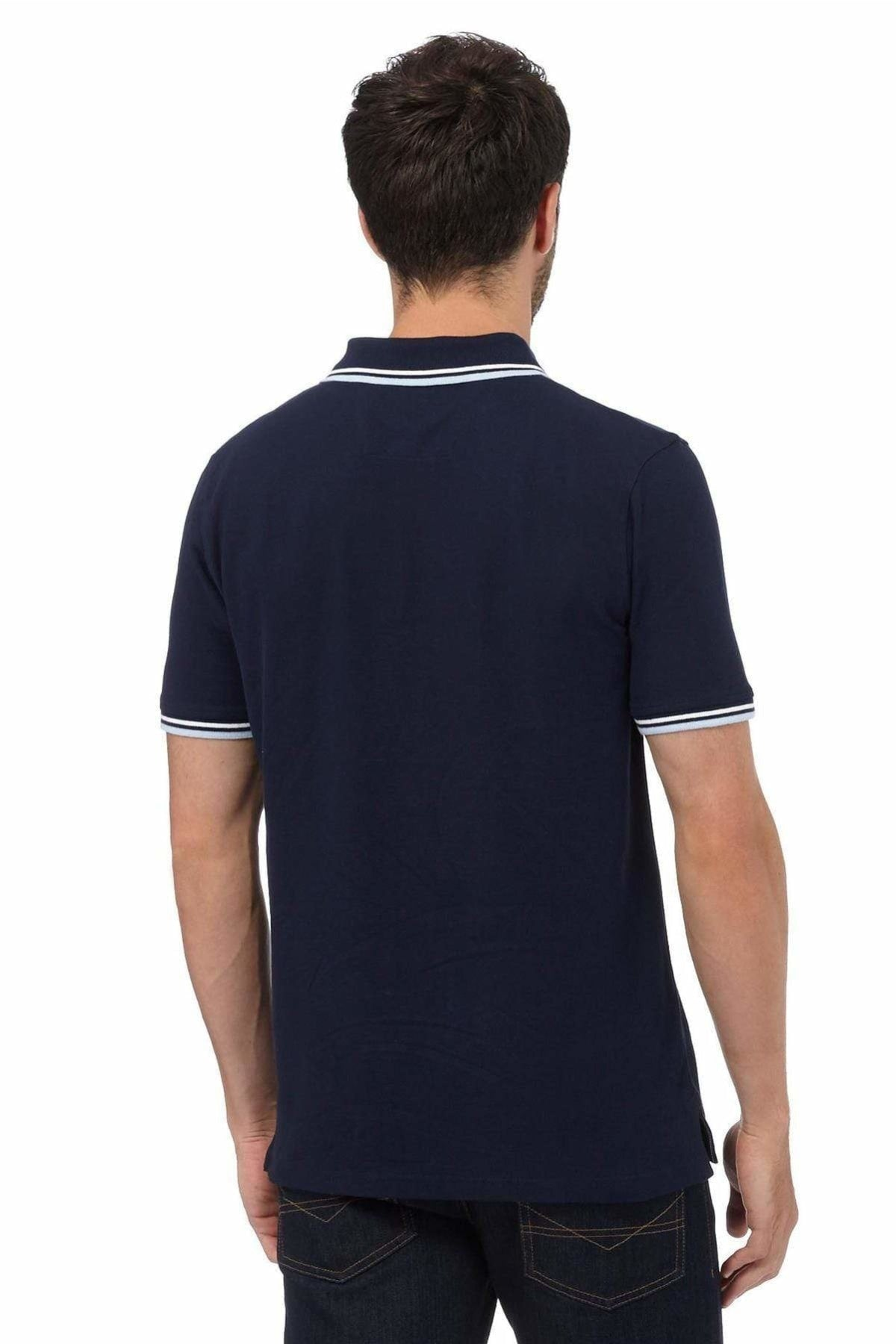 MAINE New England MAINE New England Mens Polo Shirt Tipped Collar | L / Navy Secret Label