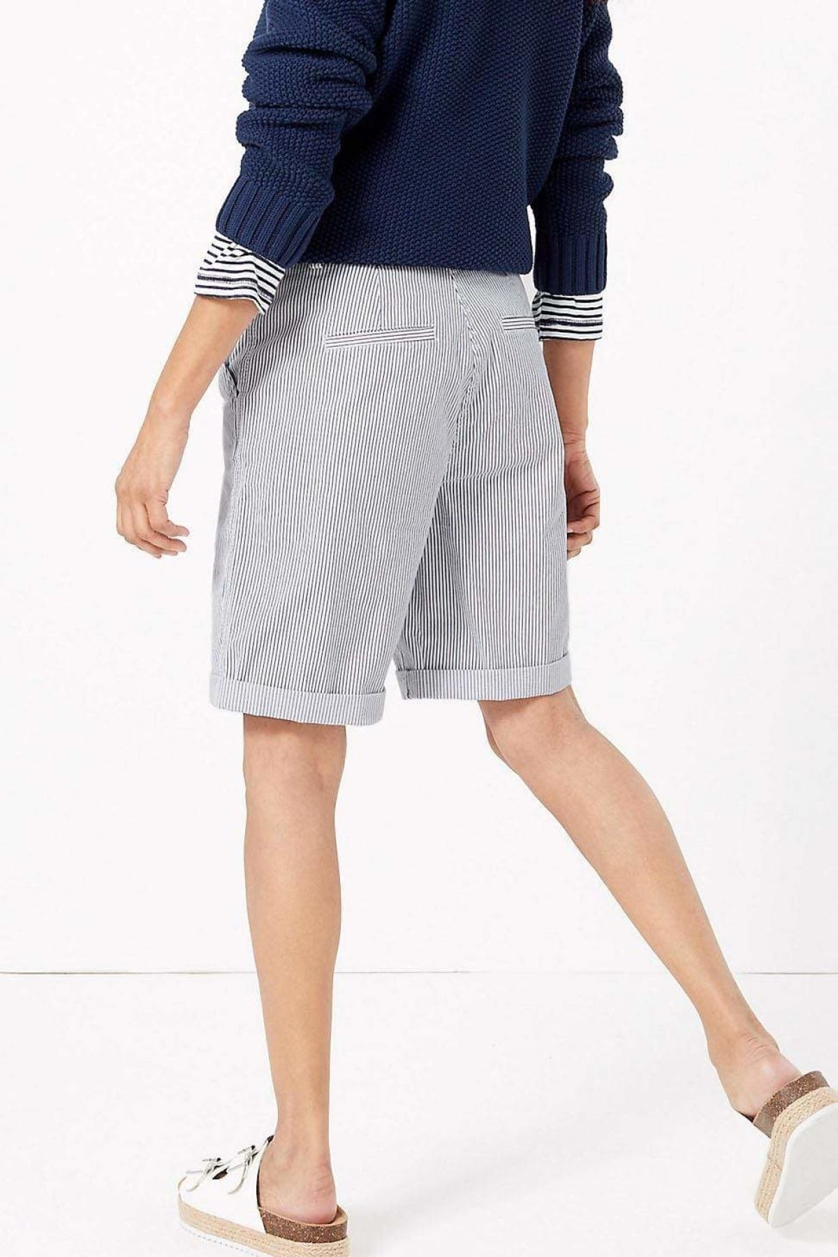 Marks & Spencer Striped Knee Shorts | 18 / White Stripe Secret Label