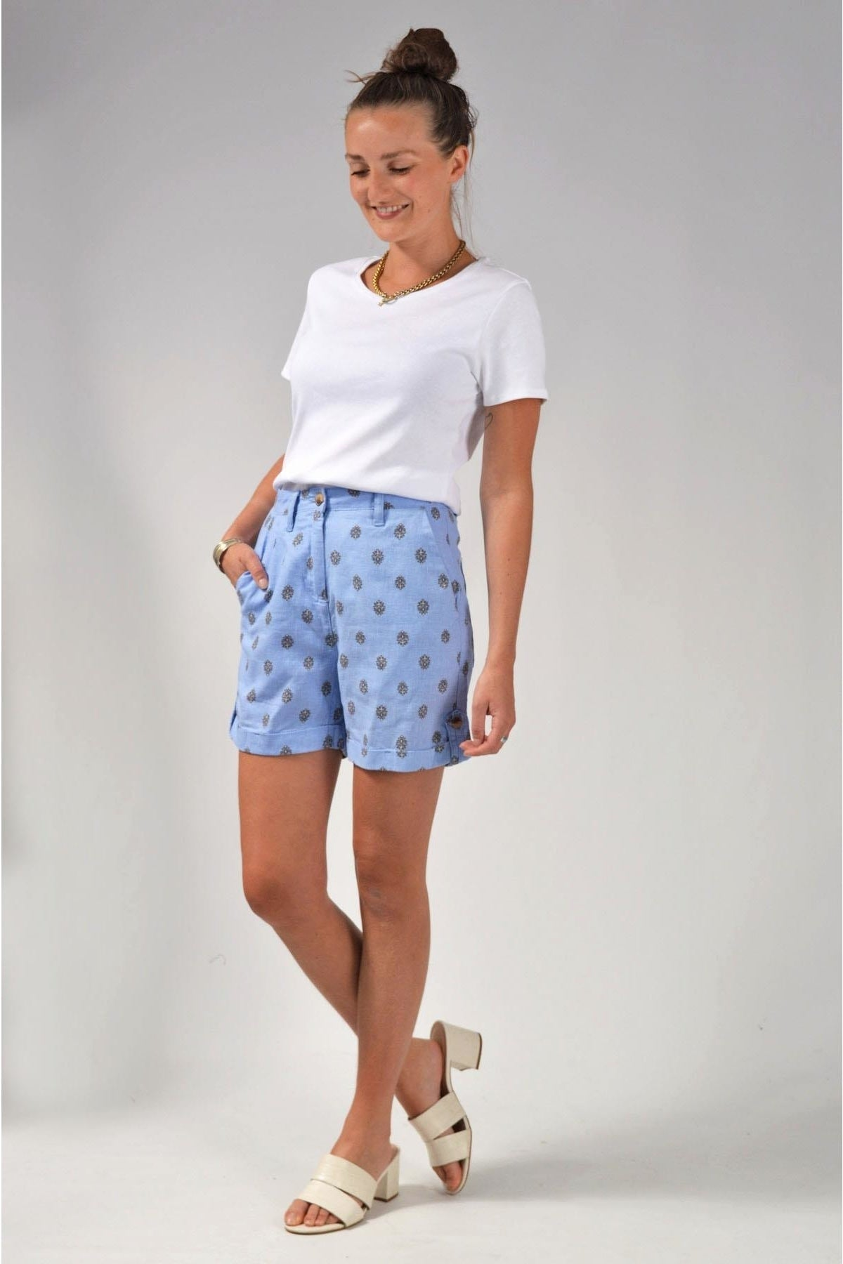 Next Ditsy Floral Linen Shorts | 12 / Blue Secret Label