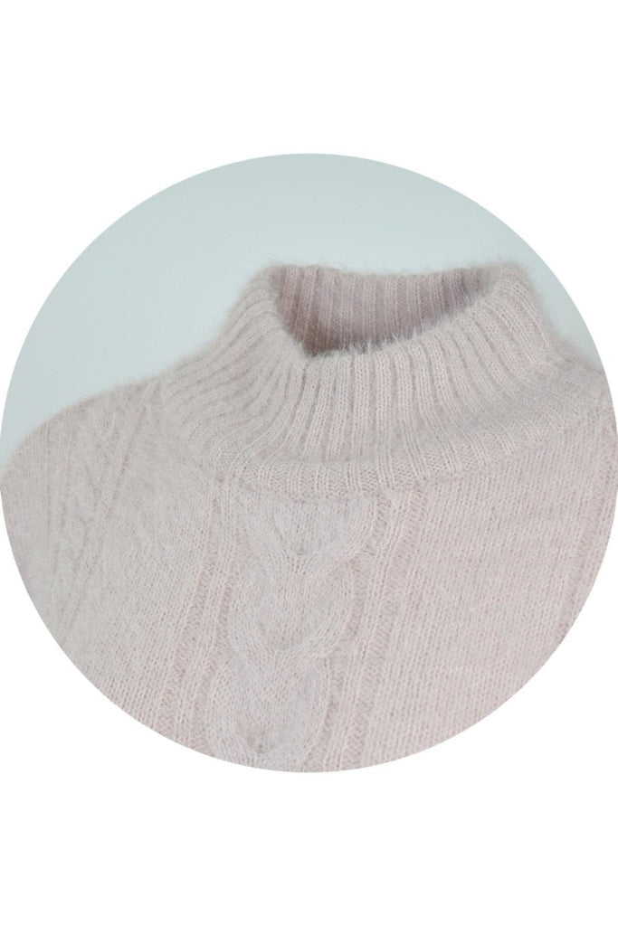 Glacier Fluffy Cable Knit Turtle Neck Jumper