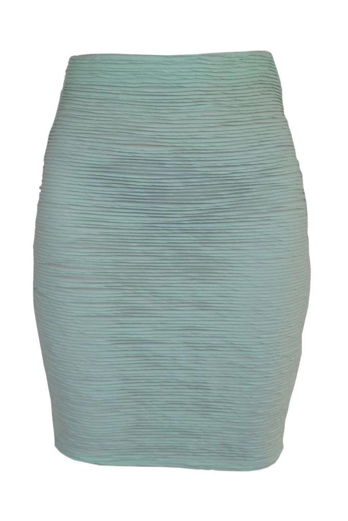 Pink Soda Green Ribbed Pencil Skirt