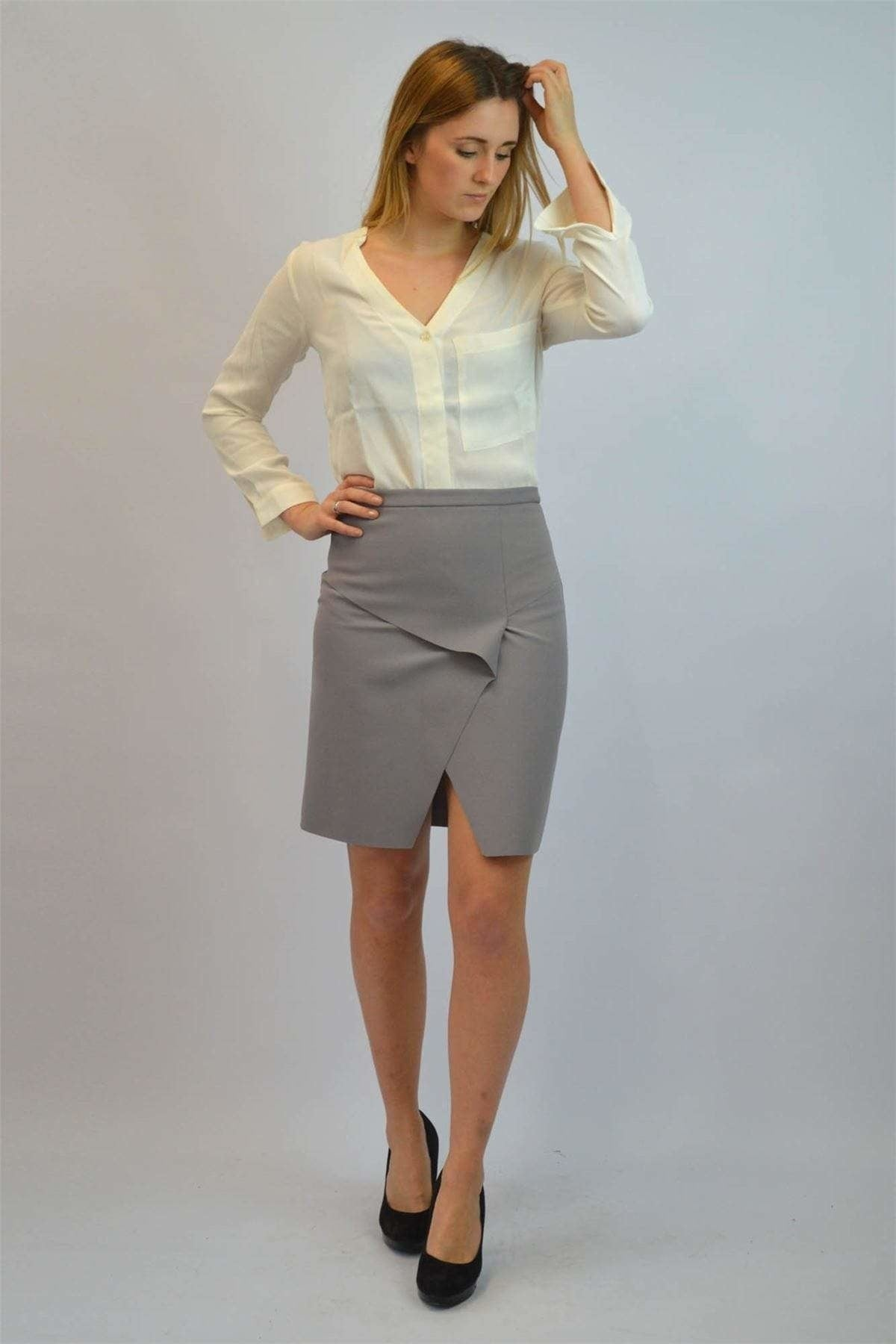 Topshop Wrap Front Skirts | 4 / Grey Secret Label