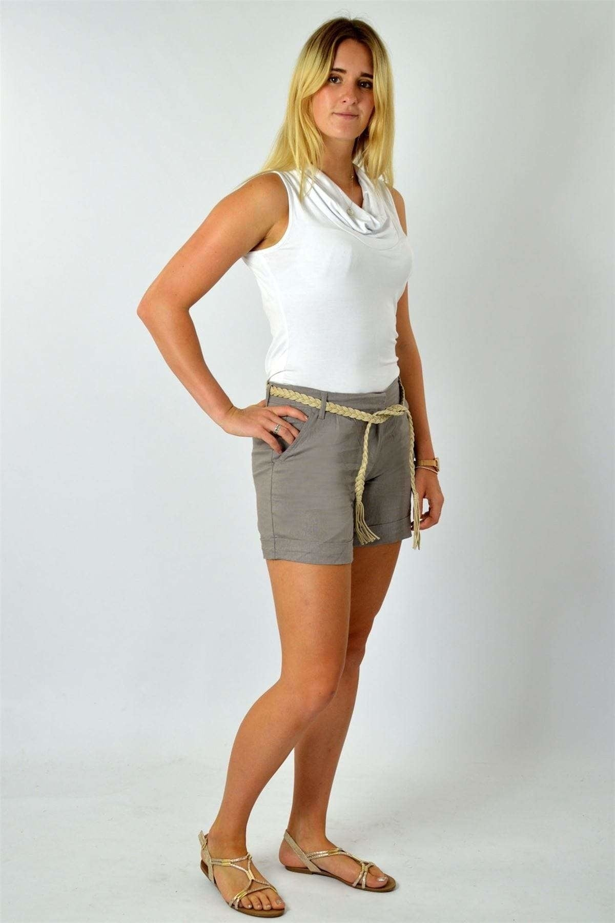 Esmara Linen Shorts | 10 / Taupe Secret Label