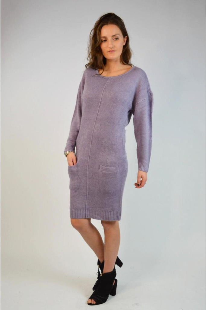 ex Chainstore Long Scoop Neck Jumper Dress