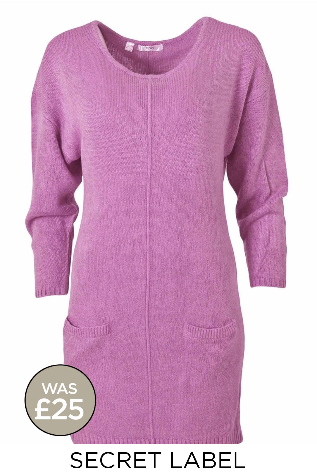 Secret Label Long Scoop Neck Jumper Dress | XS / Pink Secret Label