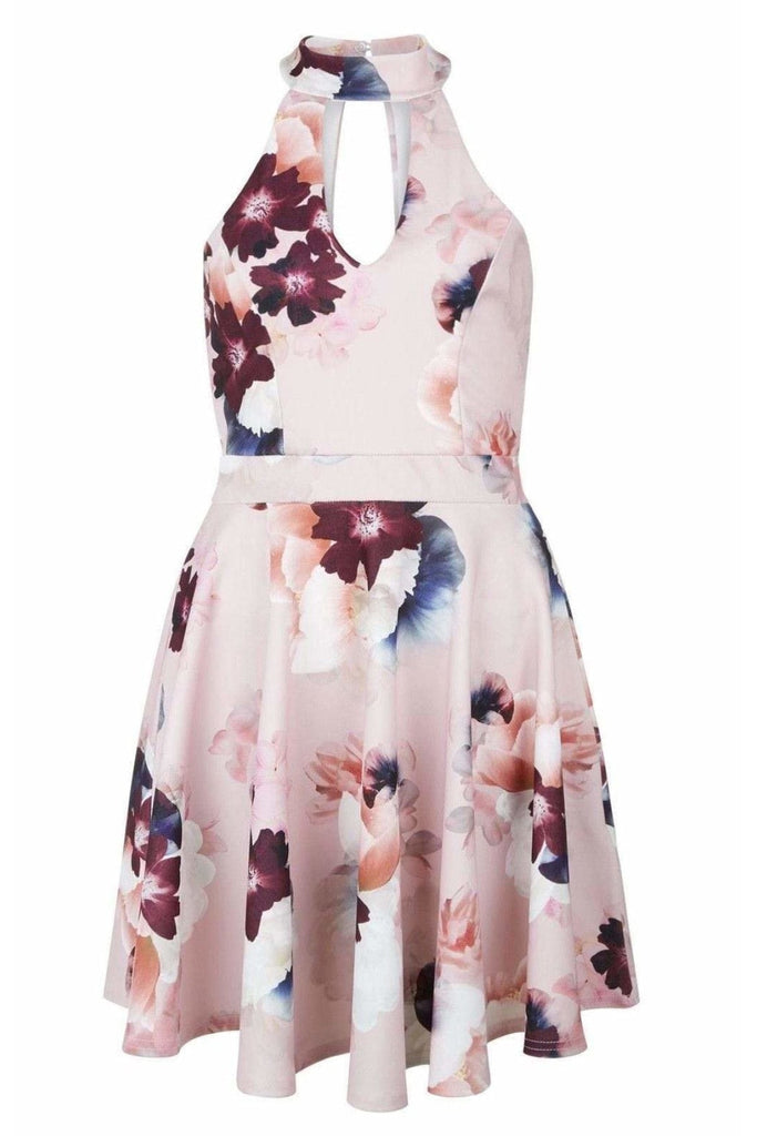 New Look Pale Pink Floral Halterneck Skater Dress