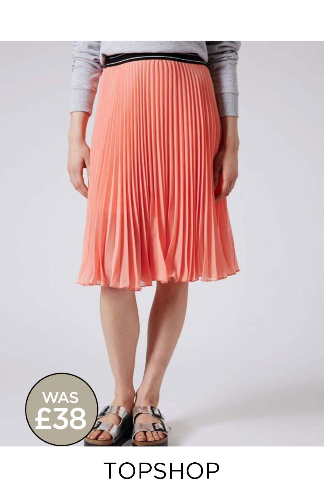Topshop Ex Topshop Pleated Floaty Summer Skirt | 4 / Peach Secret Label