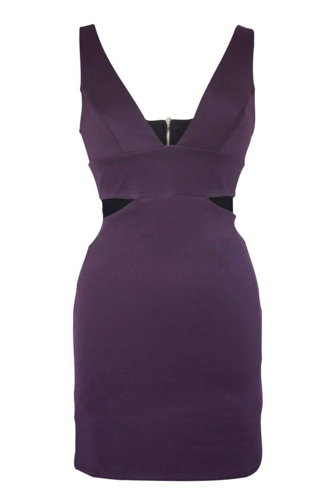 Topshop Purple Cut Out Bodycon Dress