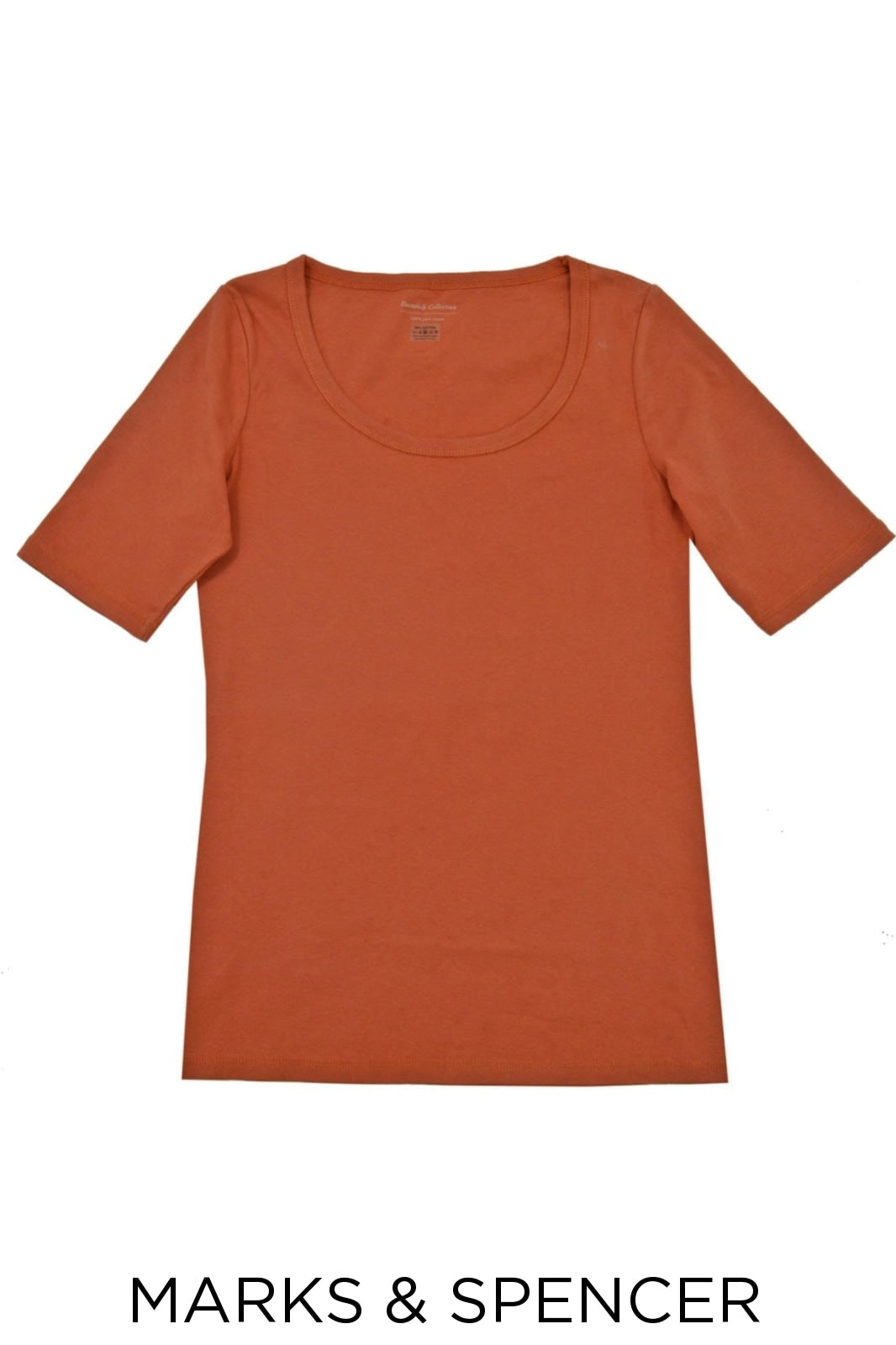 M/&S Collection Essential Pure Cotton Scoop Neck Half Sleeve Top T-Shirt NEW
