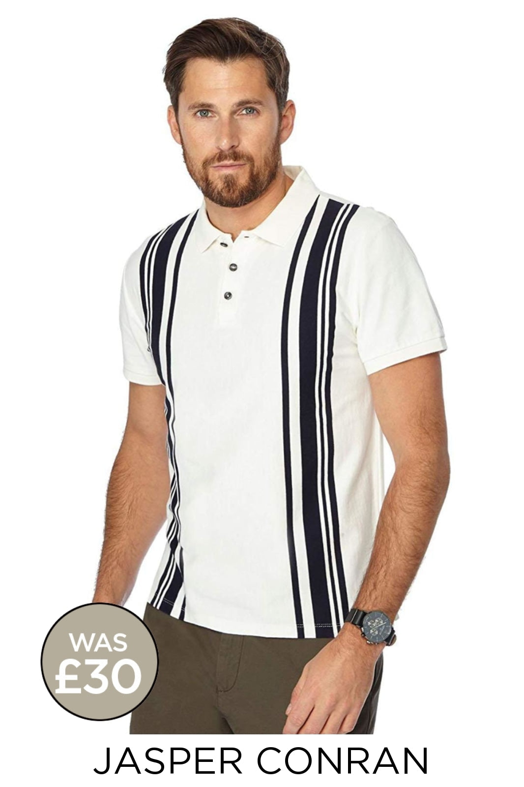 Jasper Conran Ex Jasper Conran Stripe Polo Shirt | 2XL / Ivory/Black Secret Label