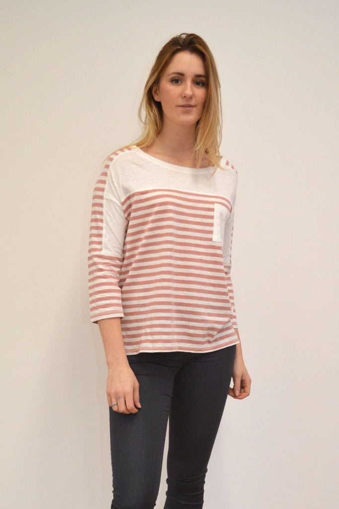 Next Striped Jersey Top with Patch Pocket