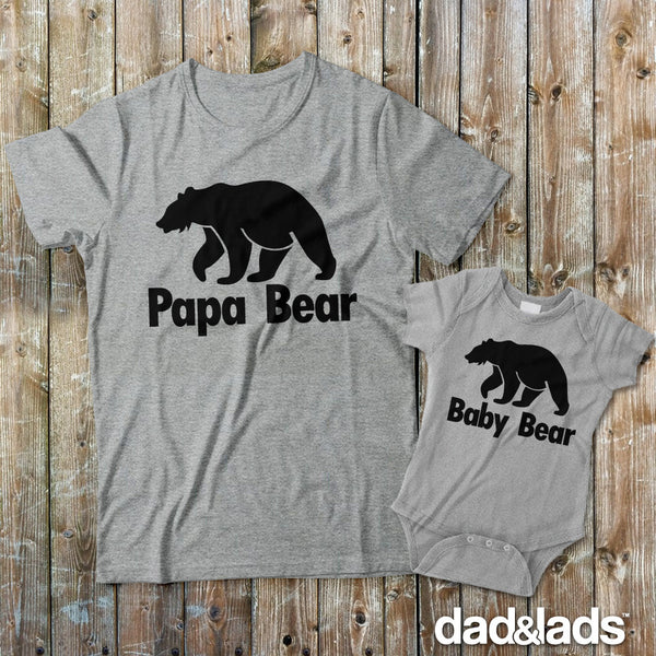 Papa Bear and Baby Bear Father Son Matching Shirts - Dad and Lads