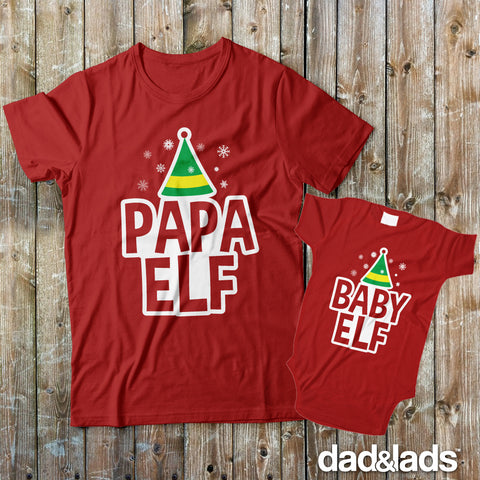 Papa Elf and Baby Elf Dad and Baby Matching Shirts for Christmas!