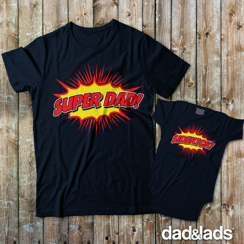 Super Dad and Sidekick Dad and Me Shirts - Dad and Lads
