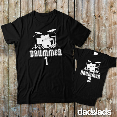 Drummer 1 and Drummer 2 Matching Father Son Shirts for Drummer - Dad and Lads