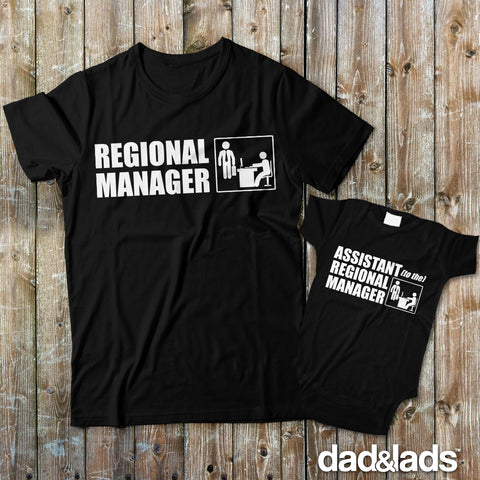 Regional Manager and Assistant To The Regional Master Matching Dad and Baby Shirts - Dad and Lads