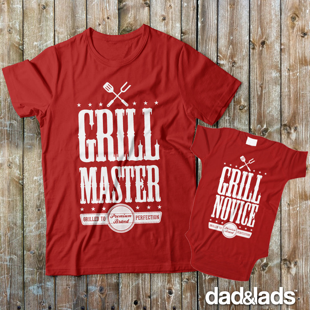 Grill Master and Grill Novice Dad and Baby Matching Shirts for Cookout - Dad and Lads