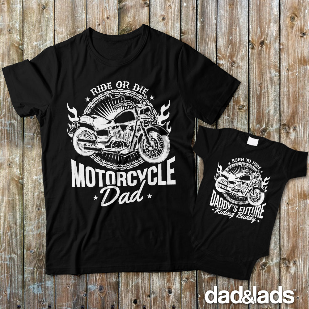 Motorcycle Dad and Daddy's Future Riding Buddy Matching Shirts for Dad and Baby - Dad and Lads