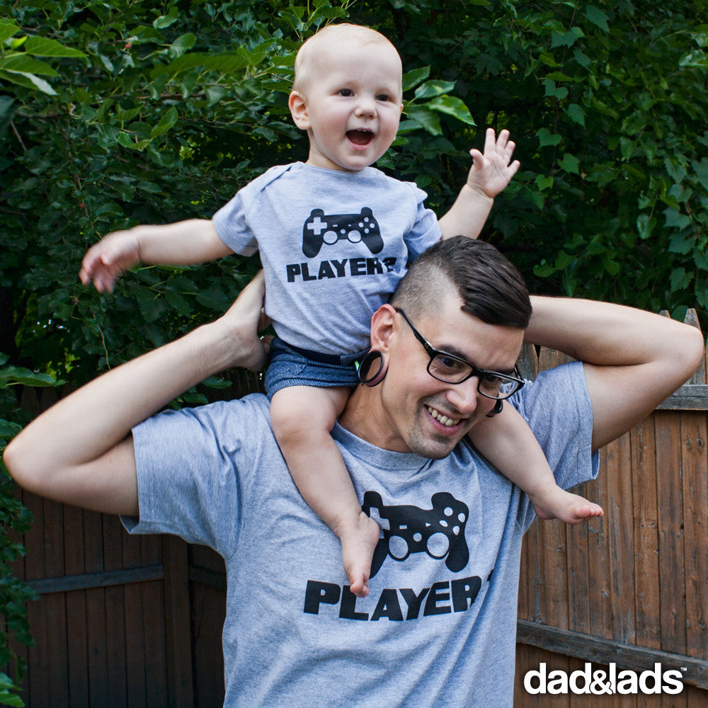 cfaf9564154fd Player 1 and Player 2 shirts Matching Father Son Set from Dad   Lads – Dad  and Lads