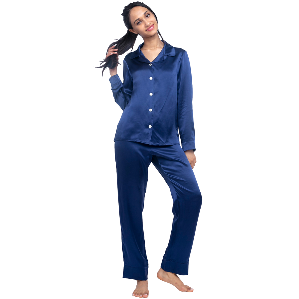 MYK Silk-Silk Long Pajama Set (22 Momme)