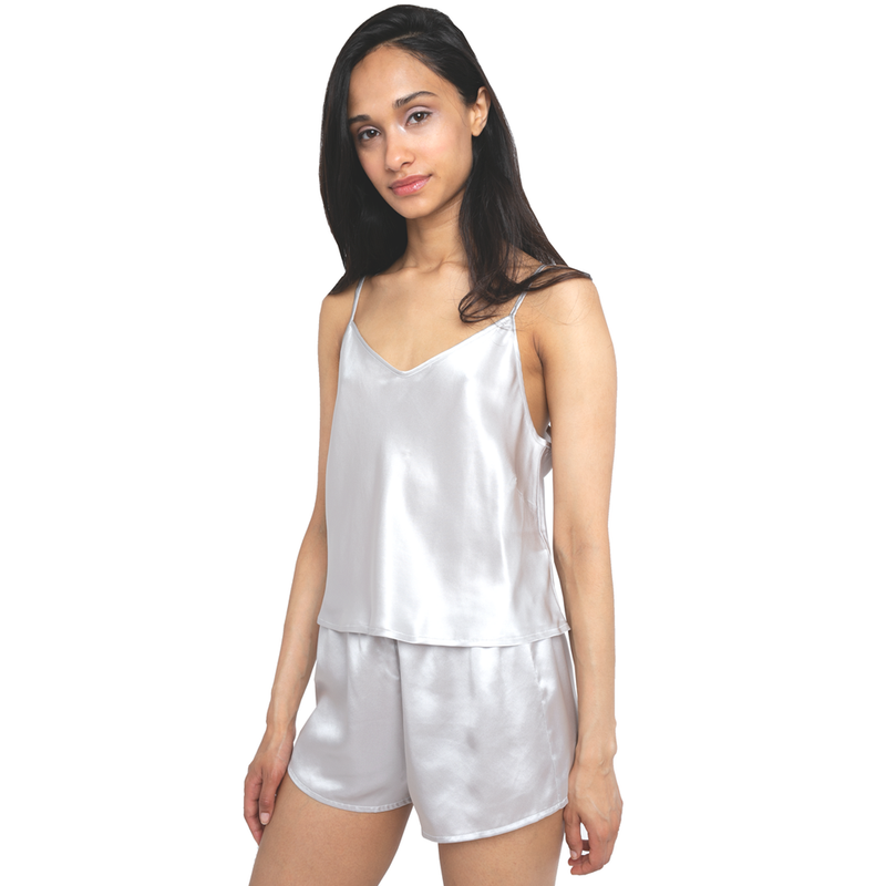 MYK Silk-Silk Camisole and Shorts Set