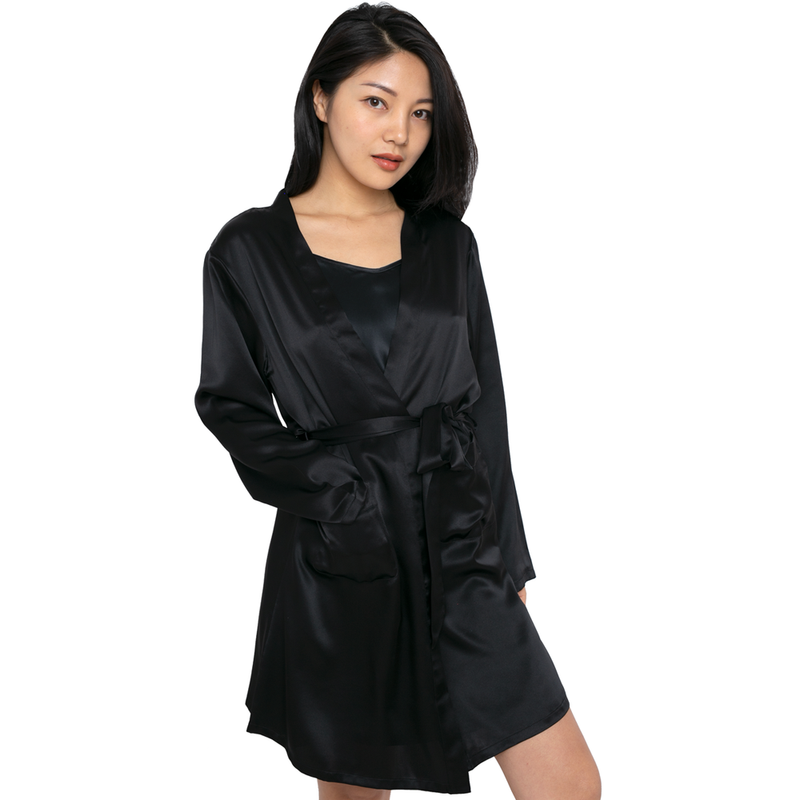 MYK Silk-Silk Robe and Mini Slip Set (22 Momme)