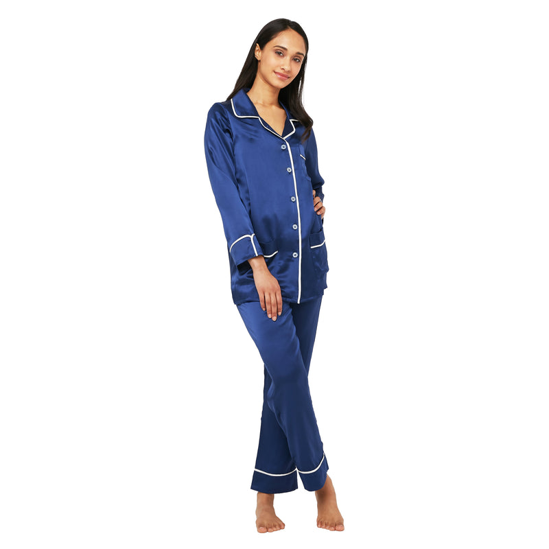 Silk Classic Long Pajama Set with Contrast Piping (22 Momme) - MYK Silk