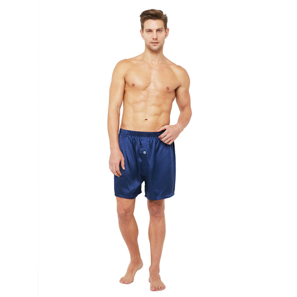 MYK Silk-Classic Silk Lounge Boxer Shorts with Elastic Waist Band (22 Momme)
