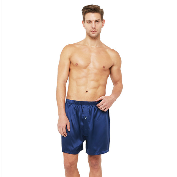 Classic Silk Lounge Boxer Shorts with Elastic Waist Band (22 Momme) - MYK Silk