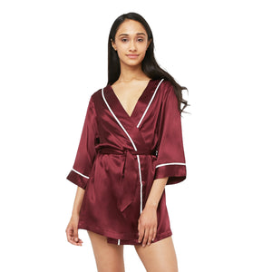 Classic Silk Robe with Contrast Piping
