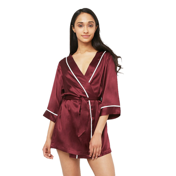 Classic Silk Kimono Styled Robe with Contrast Piping (22 Momme) - MYK Silk