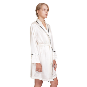 MYK Silk-Silk Robe with Contrast Piping
