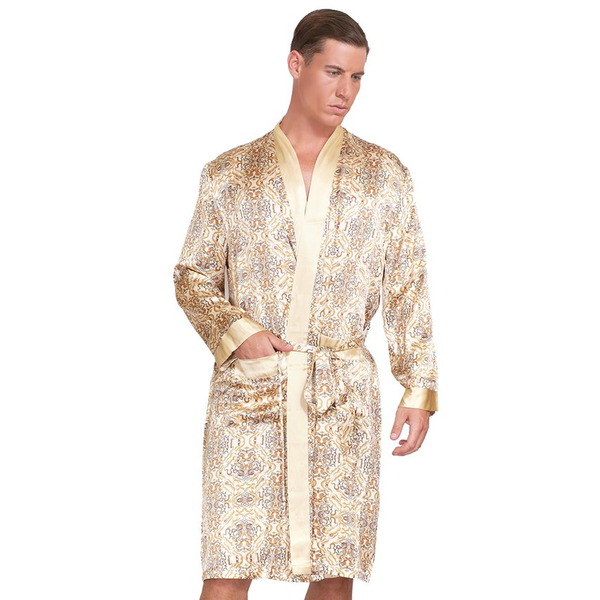 Silk Robe with Paisley Print - MYK Silk