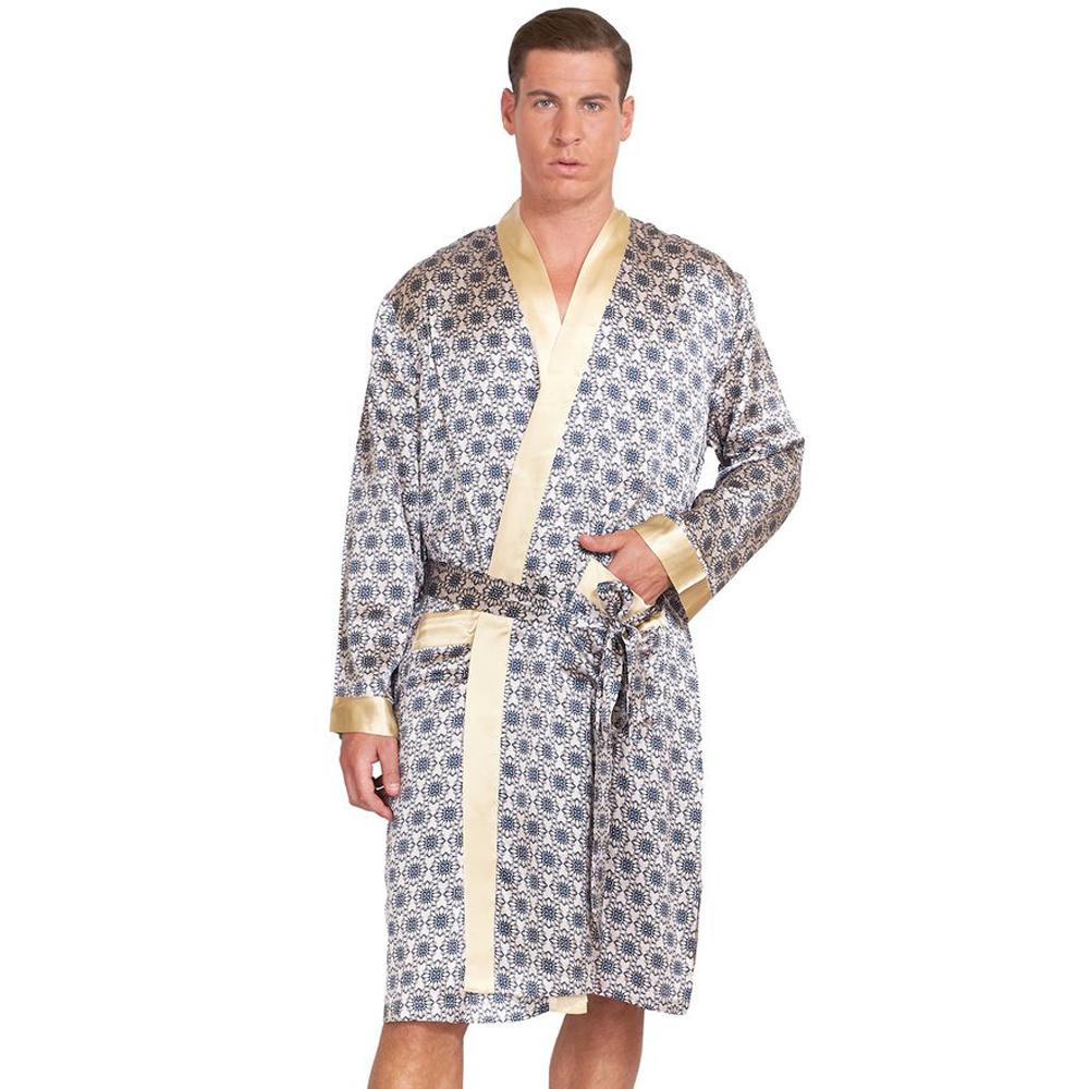 MYK Silk-Silk Robe with Geometric Print