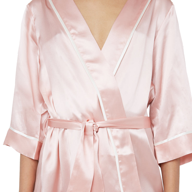 MYK Silk-Classic Silk Kimono Styled Robe with Contrast Piping (22 Momme)