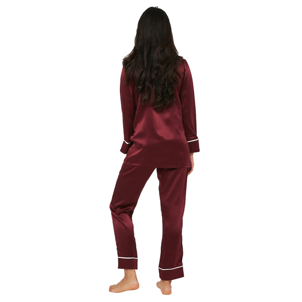 MYK Silk-Silk Classic Long Pajama Set with Contrast Piping (22 Momme)