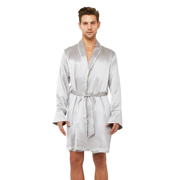 MYK Silk-Classic Silk Robe with Shawl Collar Contrast Piping (22 Momme)